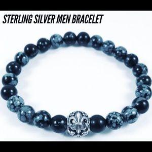 Men Sterling silver fleur de lis & obsidian beads